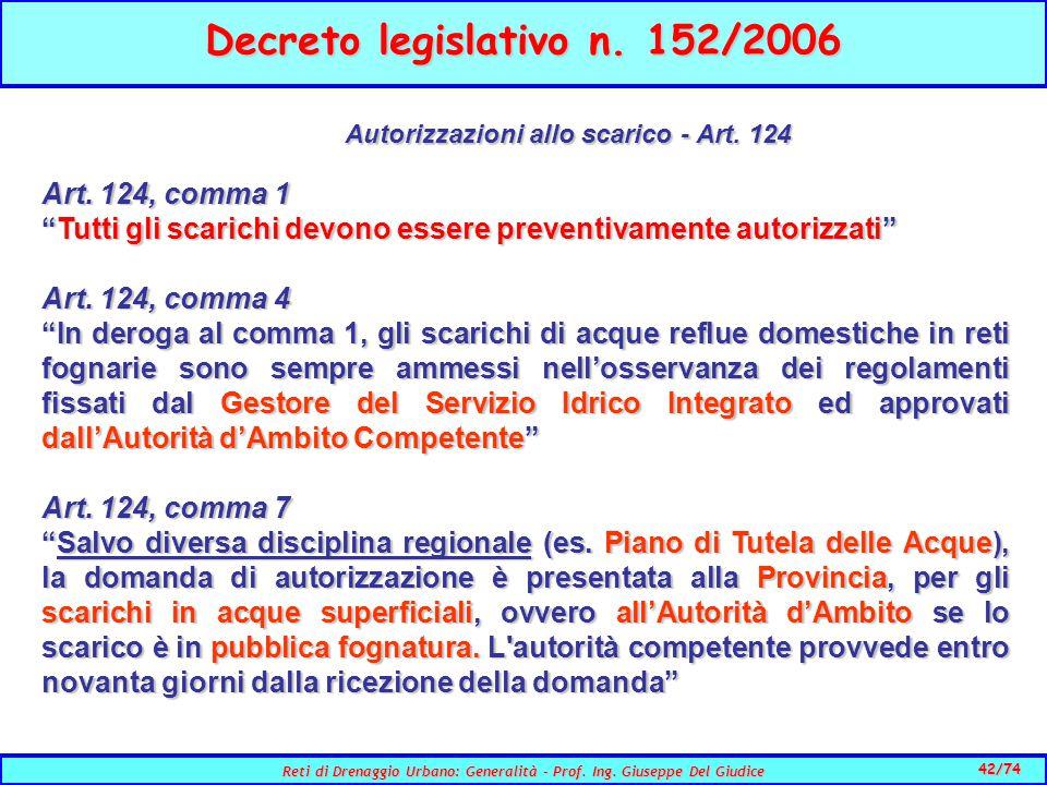 Autorizzazioni allo scarico - Art. 124