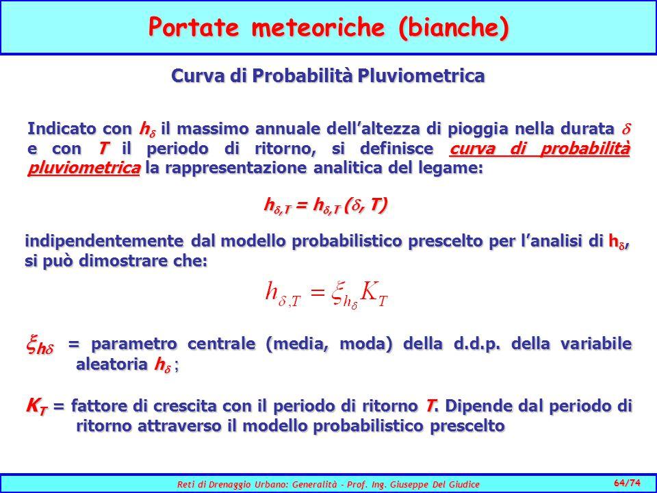 Portate meteoriche (bianche) Curva di Probabilità Pluviometrica