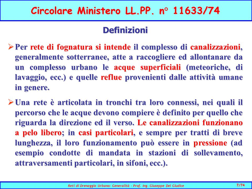 Circolare Ministero LL.PP. n° 11633/74