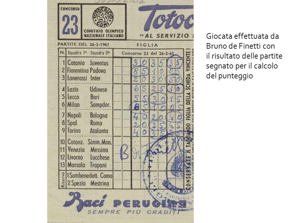 Giocata effettuata da Bruno de Finetti con. il risultato delle partite.