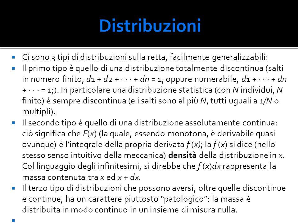 Distribuzioni Ci sono 3 tipi di distribuzioni sulla retta, facilmente generalizzabili: