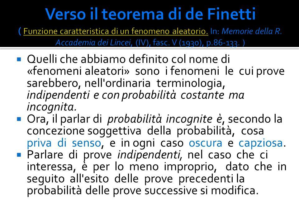 Verso il teorema di de Finetti ( Funzione caratteristica di un fenomeno aleatorio. In: Memorie della R. Accademia dei Lincei, (IV), fasc. V (1930), p.86-133. )