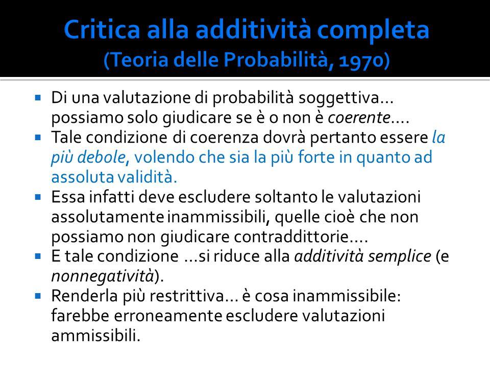 Critica alla additività completa (Teoria delle Probabilità, 1970)