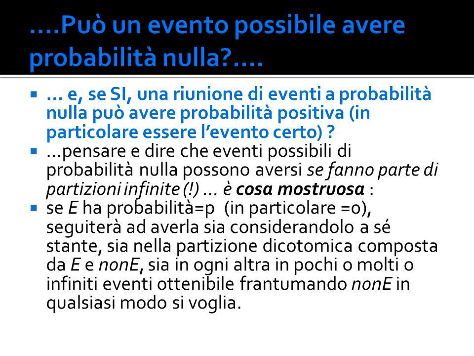 ….Può un evento possibile avere probabilità nulla ....