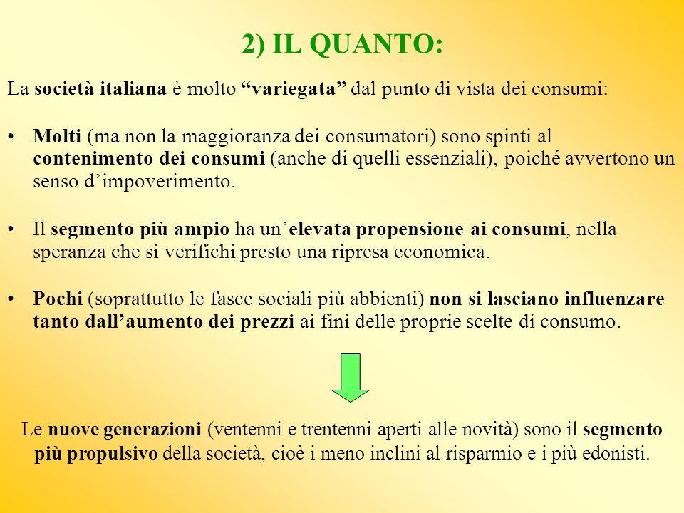 2) IL QUANTO: La società italiana è molto variegata dal punto di vista dei consumi: