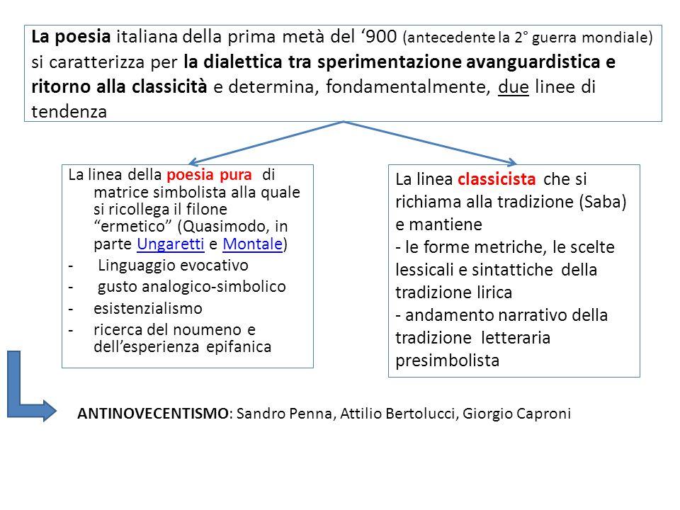 La poesia italiana della prima metà del '900 (antecedente la 2° guerra mondiale) si caratterizza per la dialettica tra sperimentazione avanguardistica e ritorno alla classicità e determina, fondamentalmente, due linee di tendenza