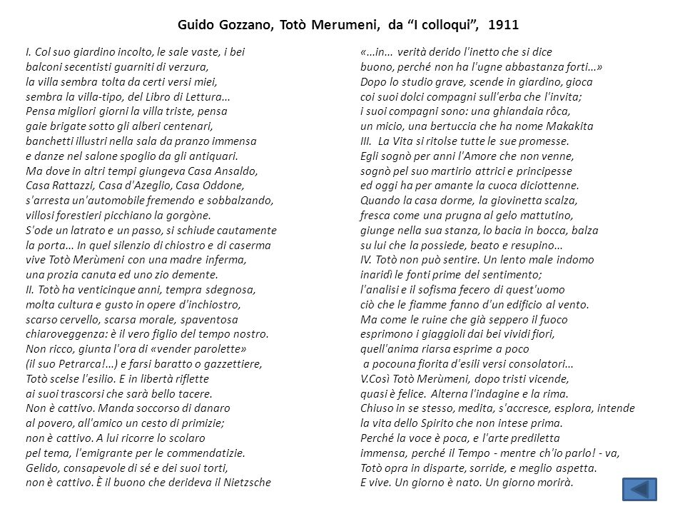 Guido Gozzano, Totò Merumeni, da I colloqui , 1911