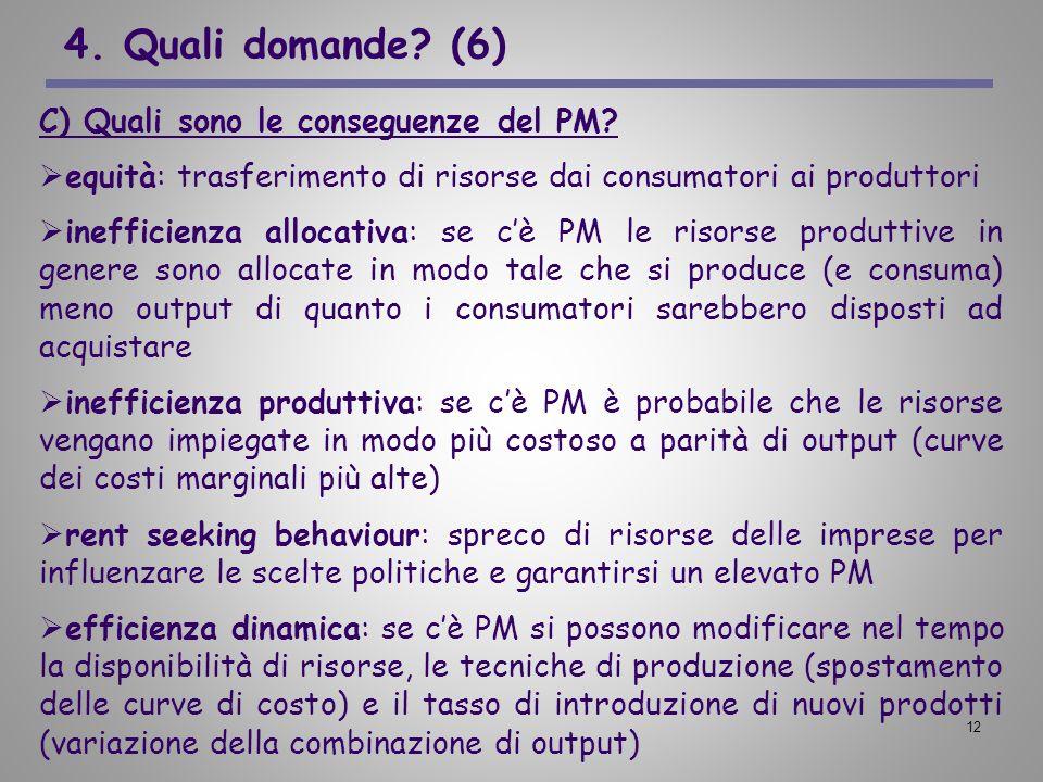 4. Quali domande (6) C) Quali sono le conseguenze del PM