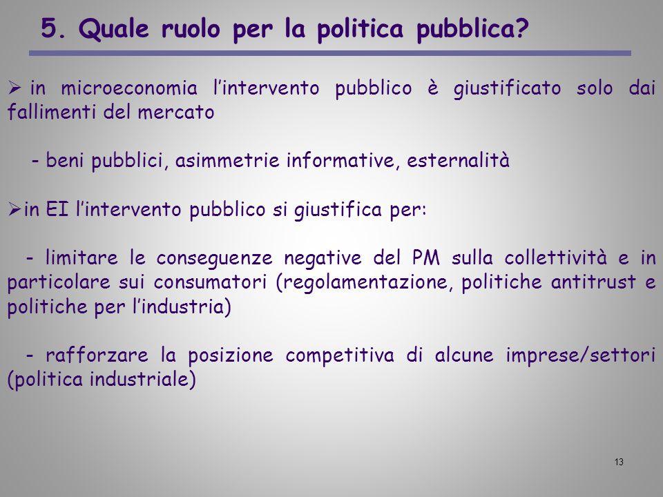 5. Quale ruolo per la politica pubblica