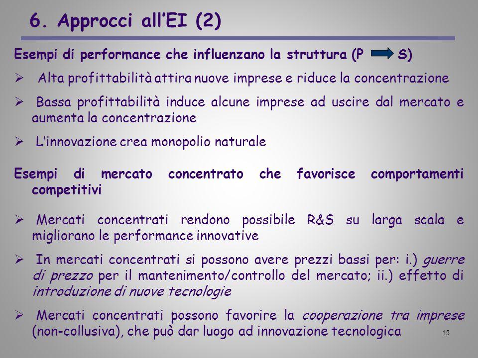 6. Approcci all'EI (2)Esempi di performance che influenzano la struttura (P S)