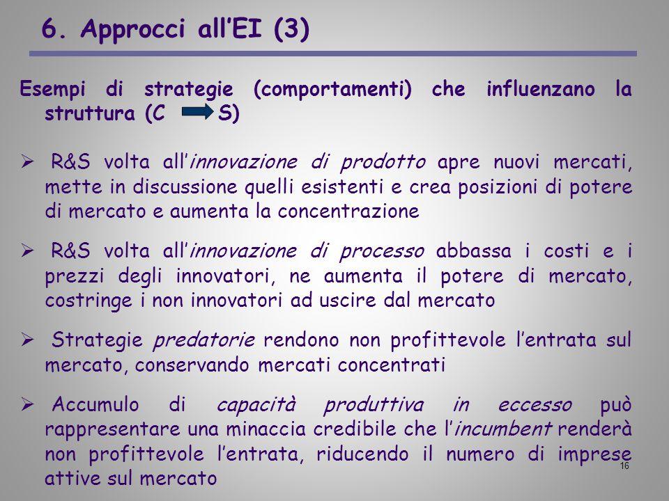 6. Approcci all'EI (3) Esempi di strategie (comportamenti) che influenzano la struttura (C S)