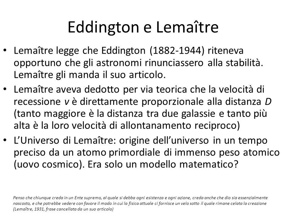 Eddington e Lemaître