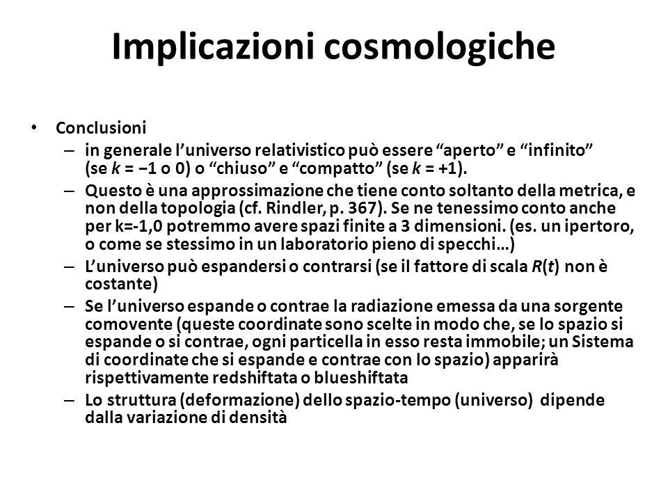 Implicazioni cosmologiche
