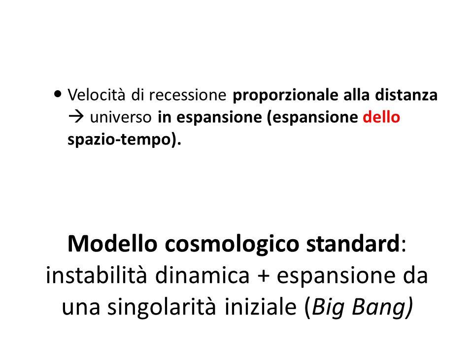 Velocità di recessione proporzionale alla distanza  universo in espansione (espansione dello spazio-tempo).