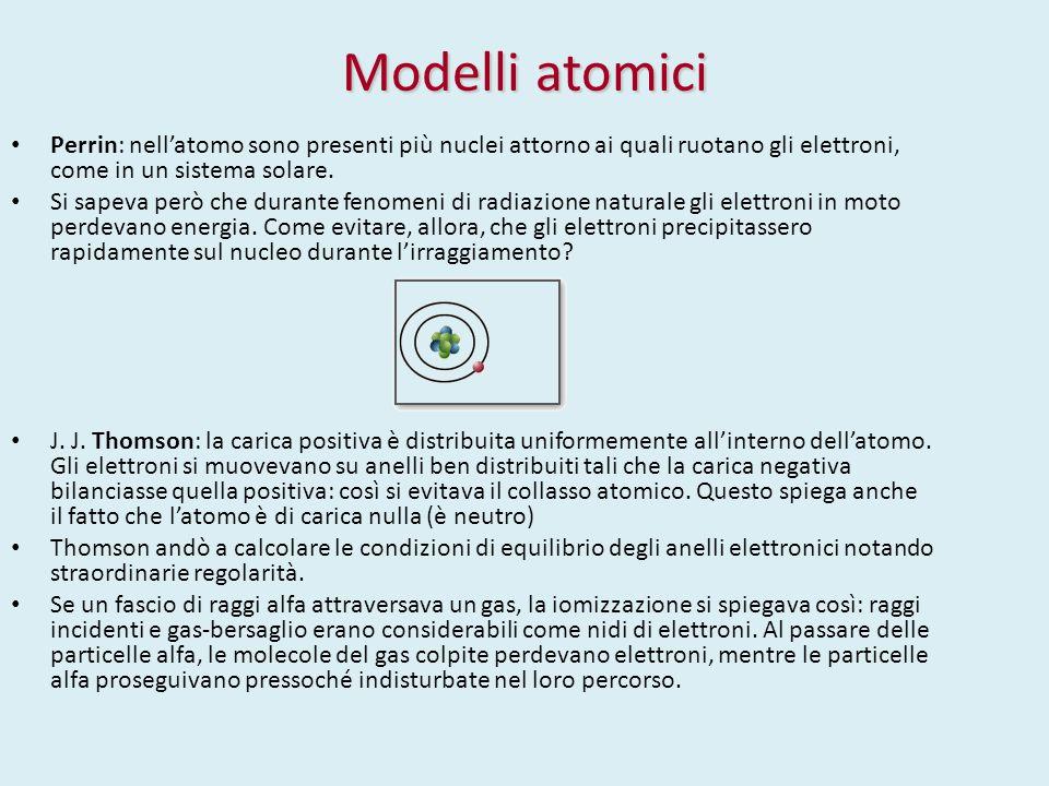 Modelli atomici Perrin: nell'atomo sono presenti più nuclei attorno ai quali ruotano gli elettroni, come in un sistema solare.
