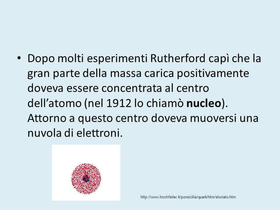 Dopo molti esperimenti Rutherford capì che la gran parte della massa carica positivamente doveva essere concentrata al centro dell'atomo (nel 1912 lo chiamò nucleo). Attorno a questo centro doveva muoversi una nuvola di elettroni.