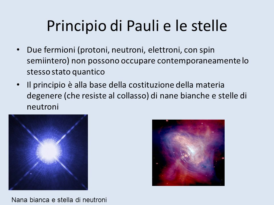Principio di Pauli e le stelle