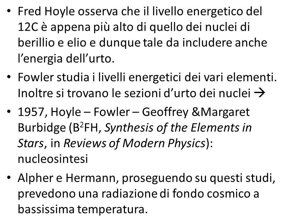 Fred Hoyle osserva che il livello energetico del 12C è appena più alto di quello dei nuclei di berillio e elio e dunque tale da includere anche l'energia dell'urto.