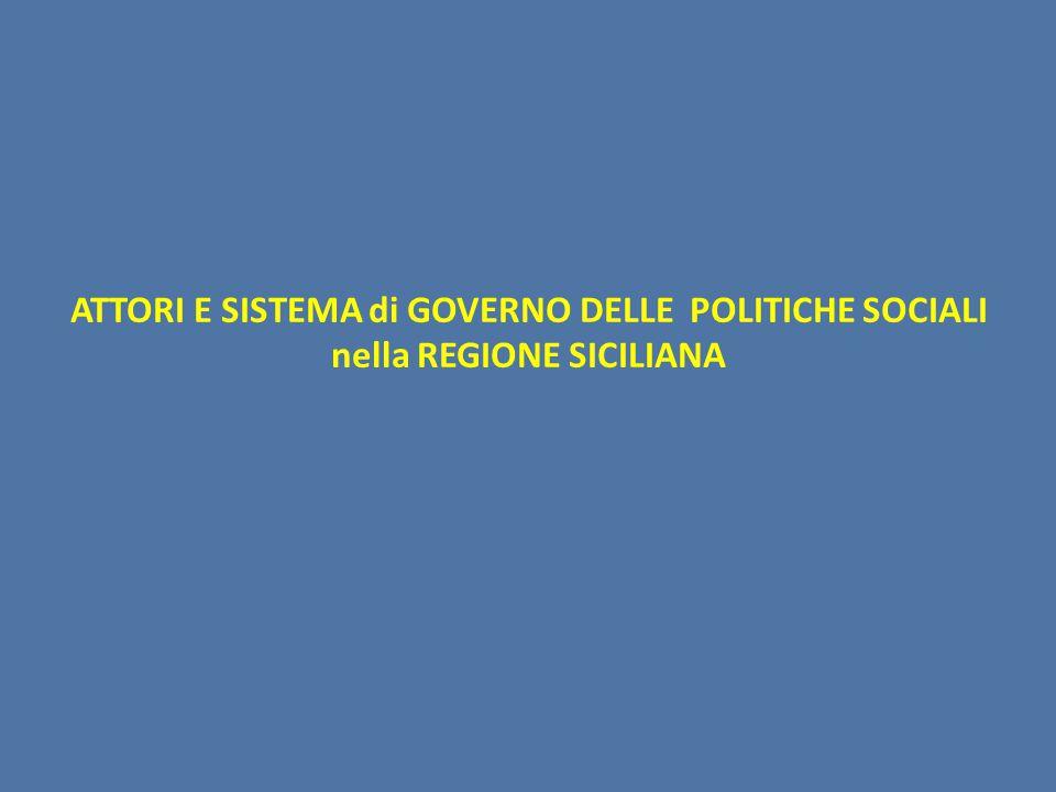 ATTORI E SISTEMA di GOVERNO DELLE POLITICHE SOCIALI nella REGIONE SICILIANA