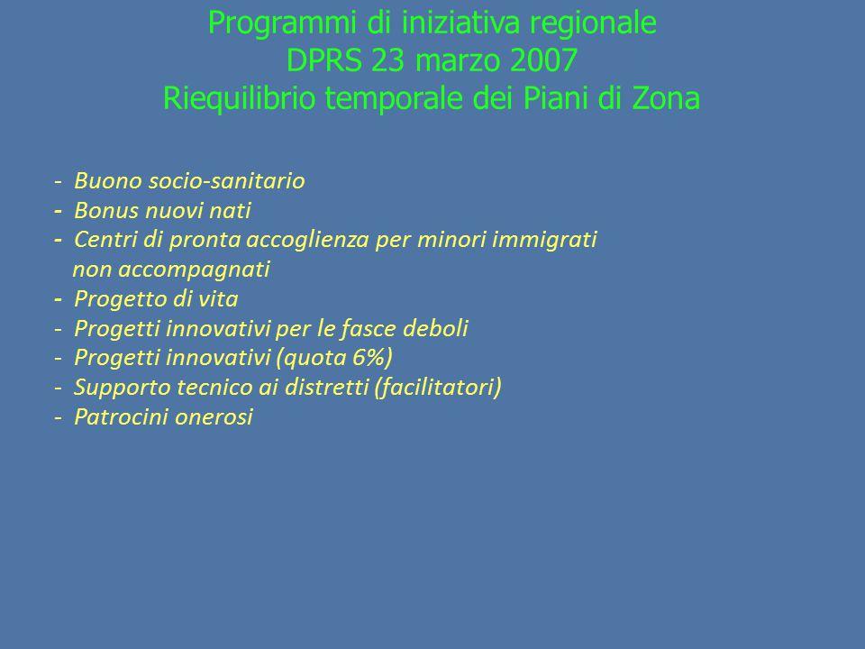 Programmi di iniziativa regionale DPRS 23 marzo 2007 Riequilibrio temporale dei Piani di Zona