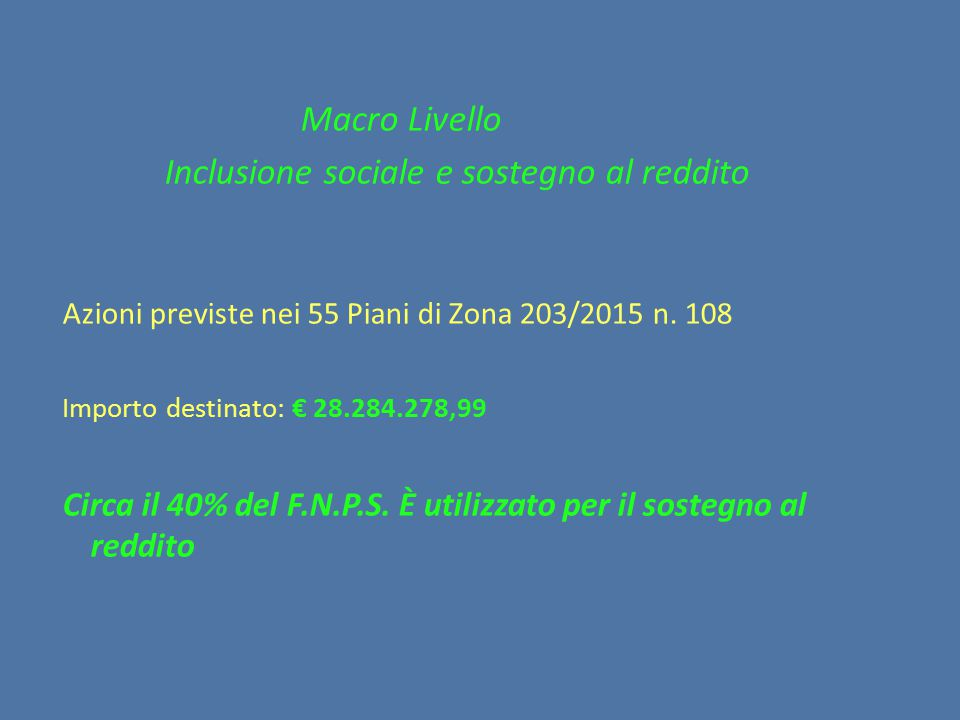 Inclusione sociale e sostegno al reddito