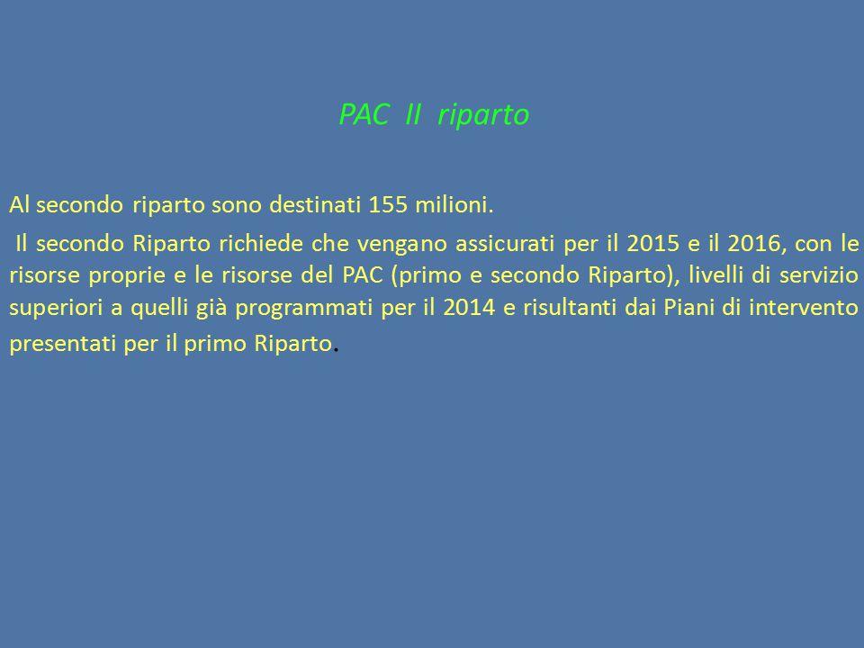 PAC II riparto Al secondo riparto sono destinati 155 milioni.