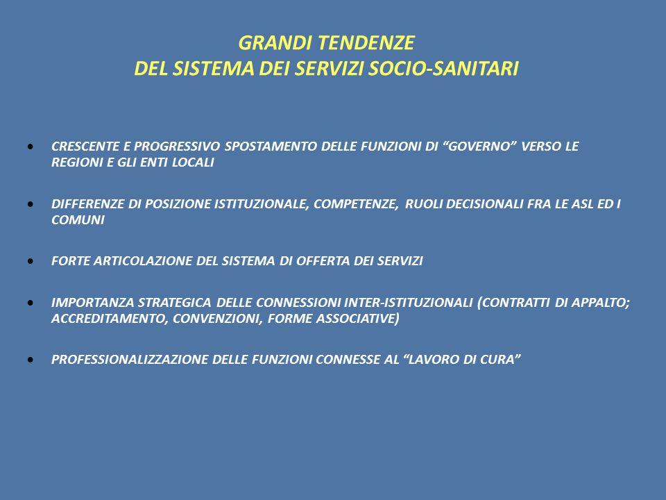 GRANDI TENDENZE DEL SISTEMA DEI SERVIZI SOCIO-SANITARI