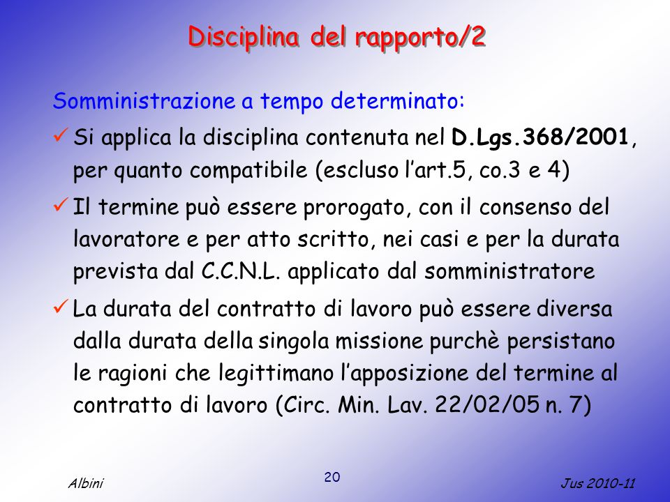 Disciplina del rapporto/2