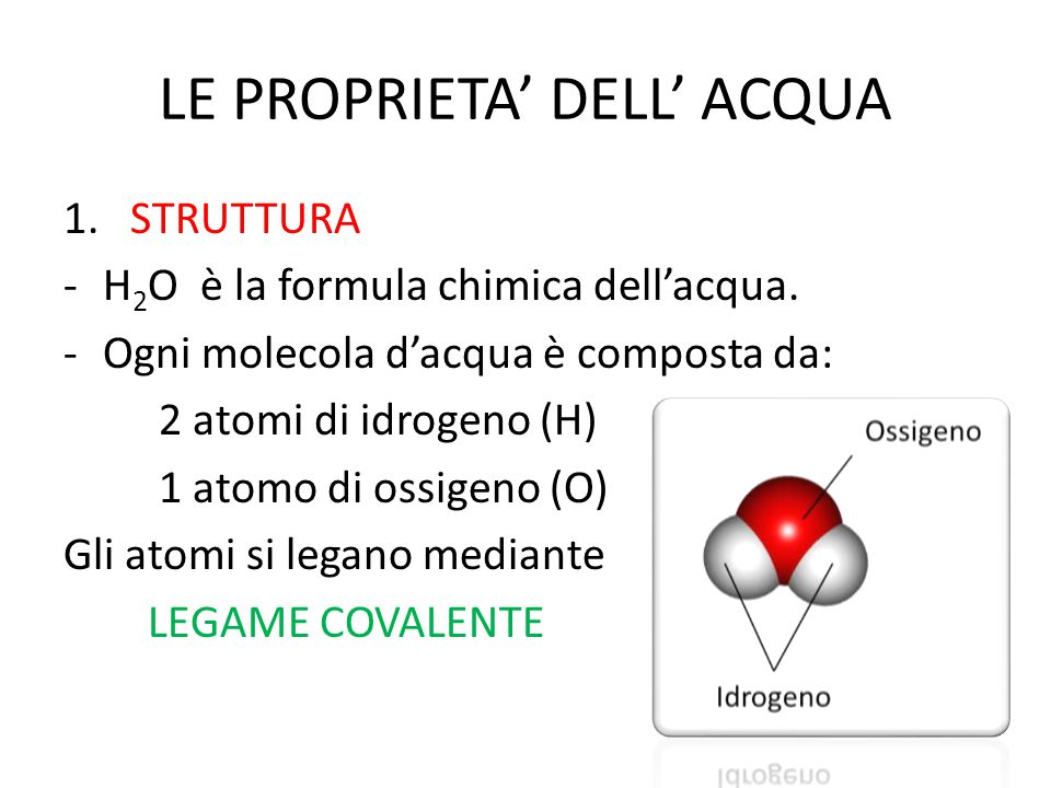 LE PROPRIETA' DELL' ACQUA