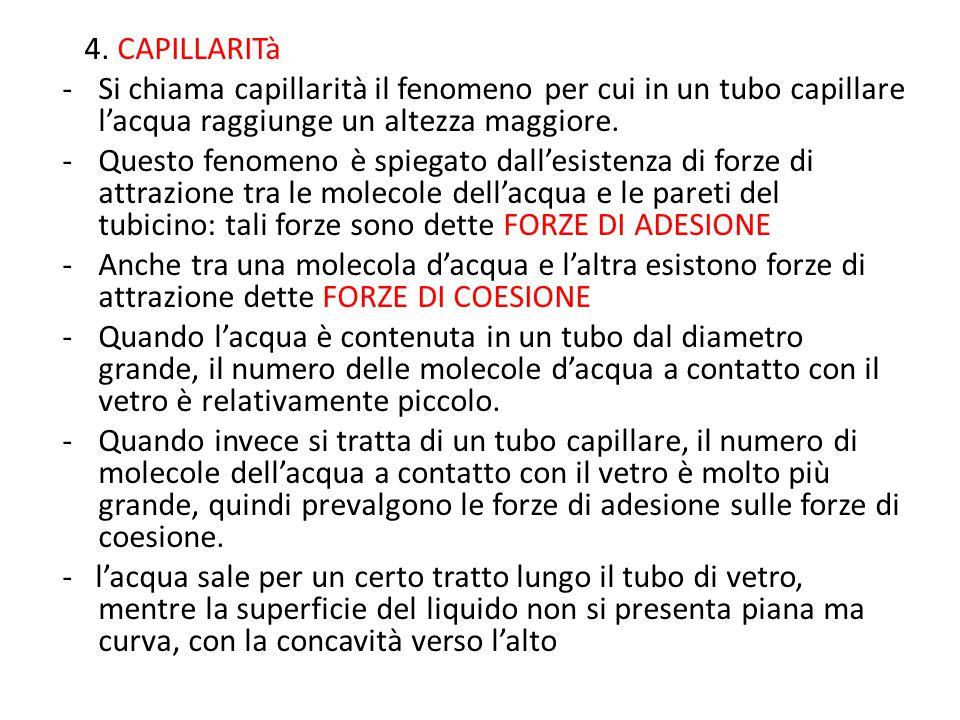 4. CAPILLARITà Si chiama capillarità il fenomeno per cui in un tubo capillare l'acqua raggiunge un altezza maggiore.