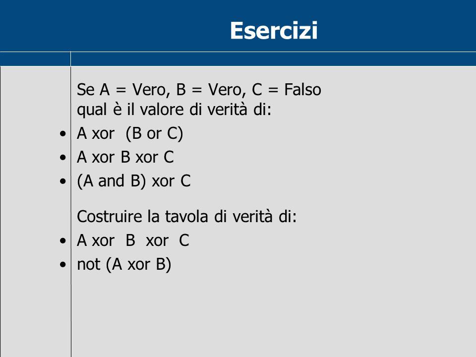 Esercizi Se A = Vero, B = Vero, C = Falso