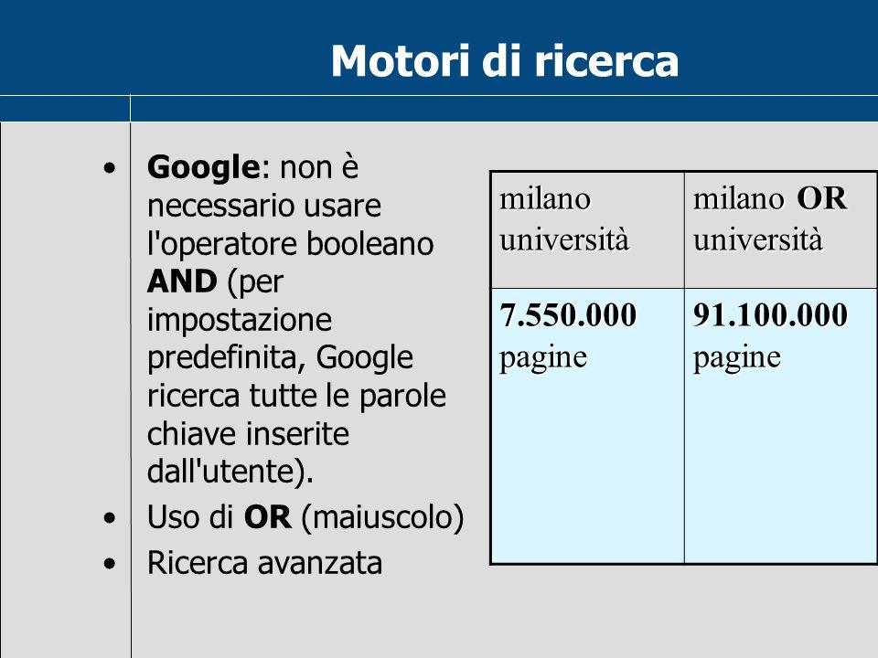 Motori di ricerca milano università milano OR università