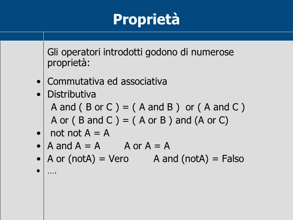 Proprietà proprietà: Commutativa ed associativa Distributiva
