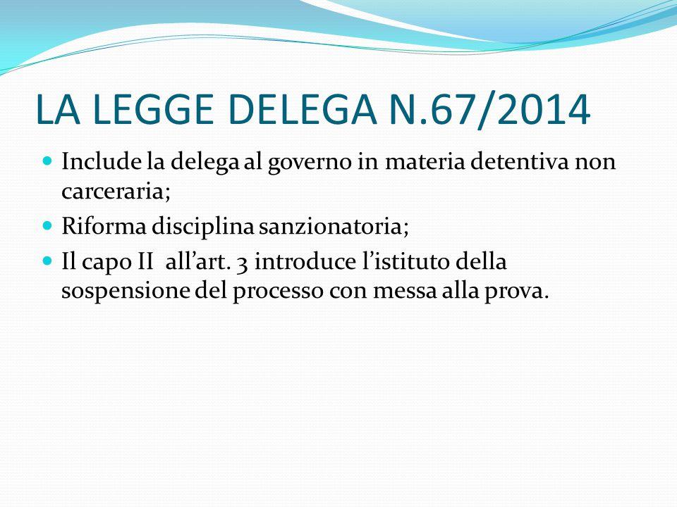 LA LEGGE DELEGA N.67/2014 Include la delega al governo in materia detentiva non carceraria; Riforma disciplina sanzionatoria;