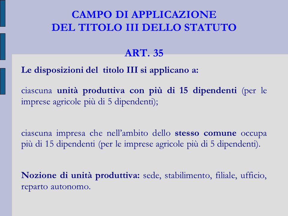 CAMPO DI APPLICAZIONE DEL TITOLO III DELLO STATUTO ART. 35