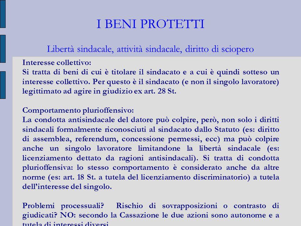 I BENI PROTETTI Libertà sindacale, attività sindacale, diritto di sciopero