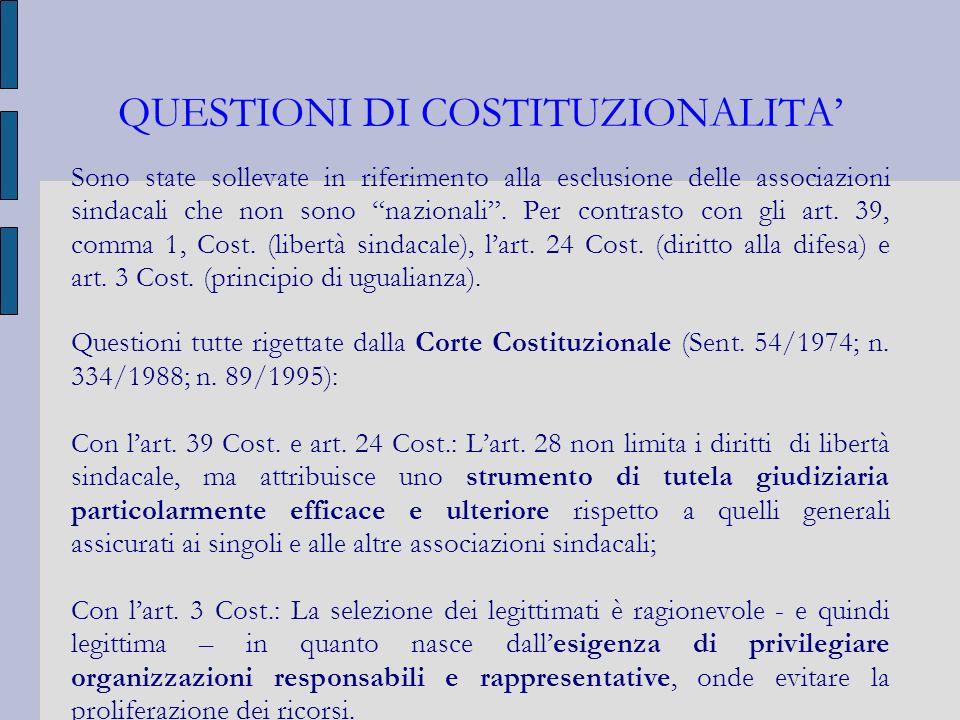 QUESTIONI DI COSTITUZIONALITA'