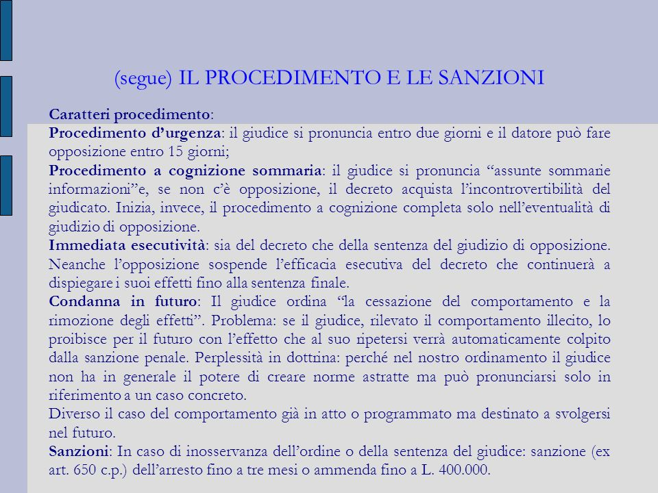 (segue) IL PROCEDIMENTO E LE SANZIONI