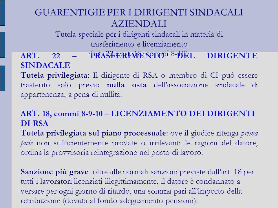 GUARENTIGIE PER I DIRIGENTI SINDACALI AZIENDALI Tutela speciale per i dirigenti sindacali in materia di trasferimento e licenziamento (art. 22 e art. 18, commi 8-10)