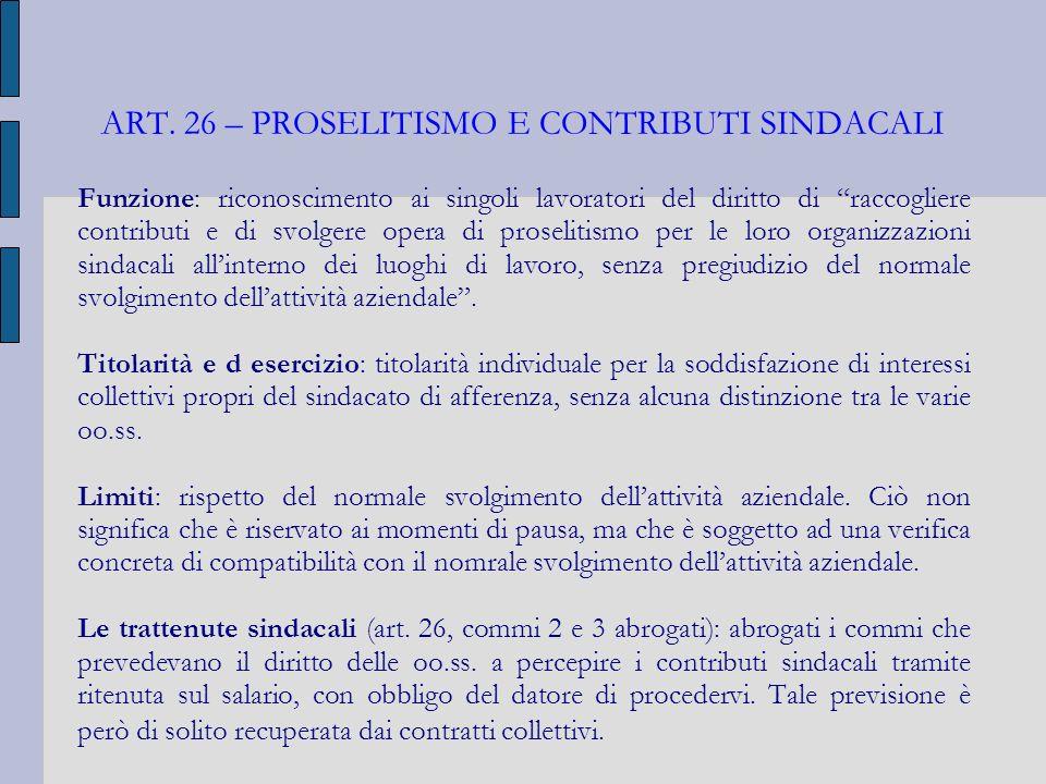 ART. 26 – PROSELITISMO E CONTRIBUTI SINDACALI