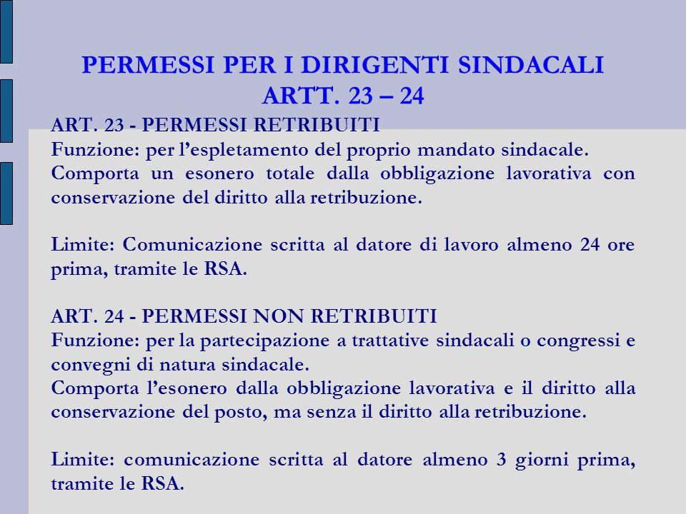 PERMESSI PER I DIRIGENTI SINDACALI ARTT. 23 – 24