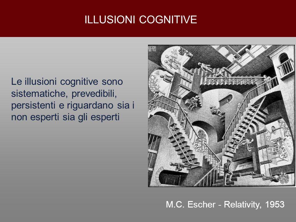 ILLUSIONI COGNITIVE Le illusioni cognitive sono sistematiche, prevedibili, persistenti e riguardano sia i non esperti sia gli esperti.