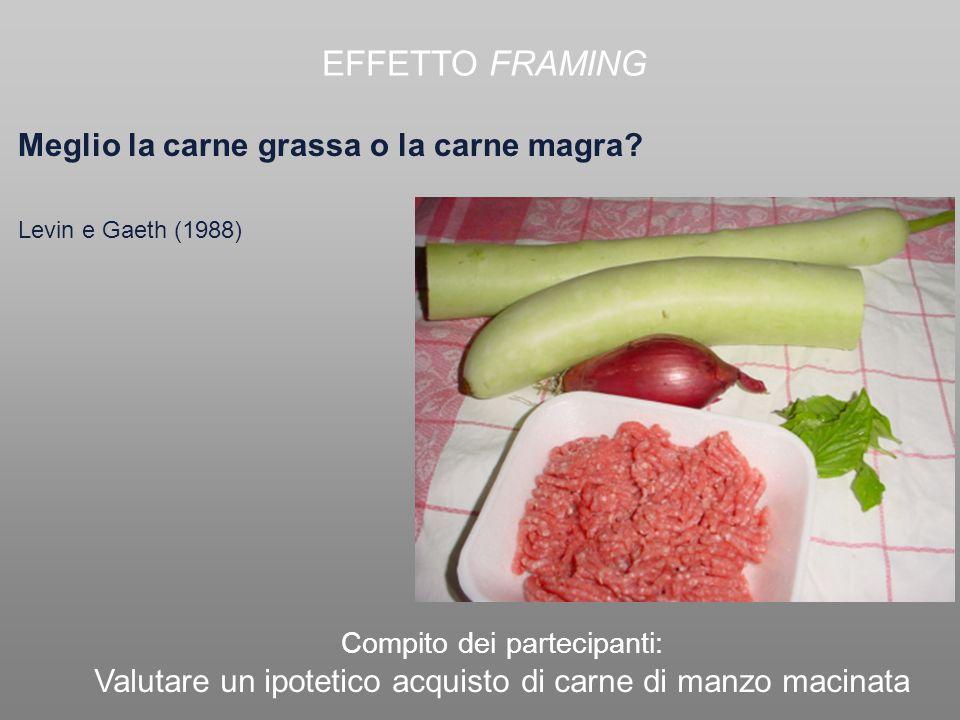 EFFETTO FRAMING Meglio la carne grassa o la carne magra
