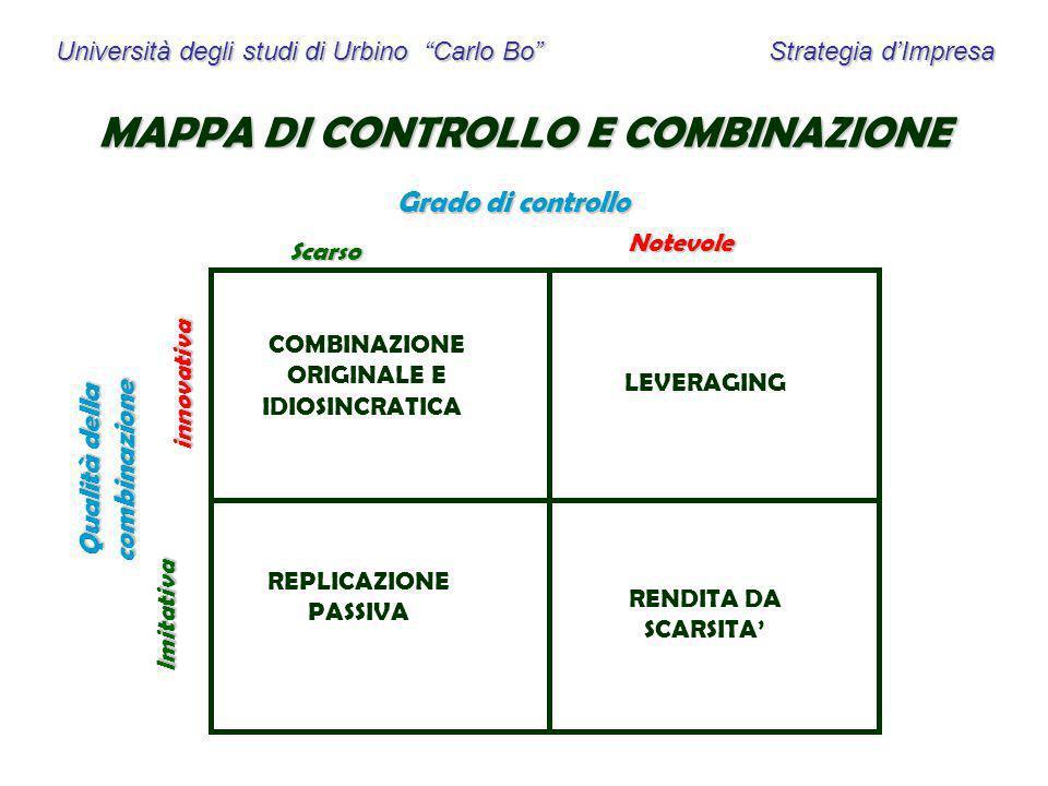 MAPPA DI CONTROLLO E COMBINAZIONE Qualità della combinazione
