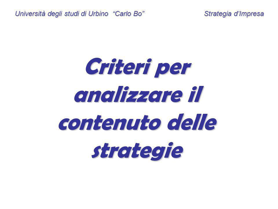 Criteri per analizzare il contenuto delle strategie