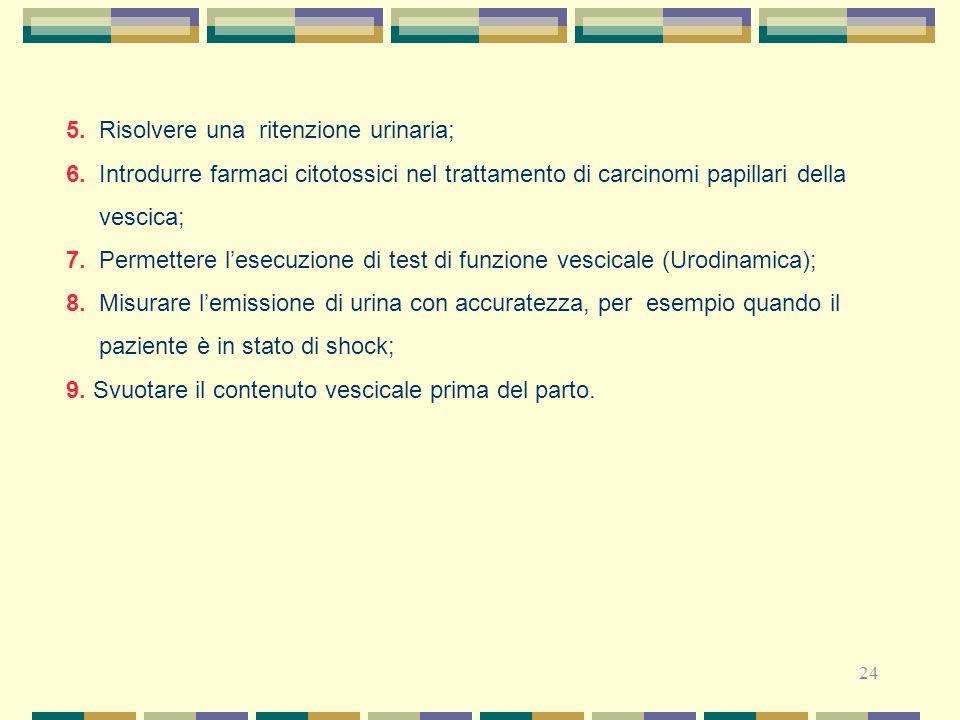 5. Risolvere una ritenzione urinaria;
