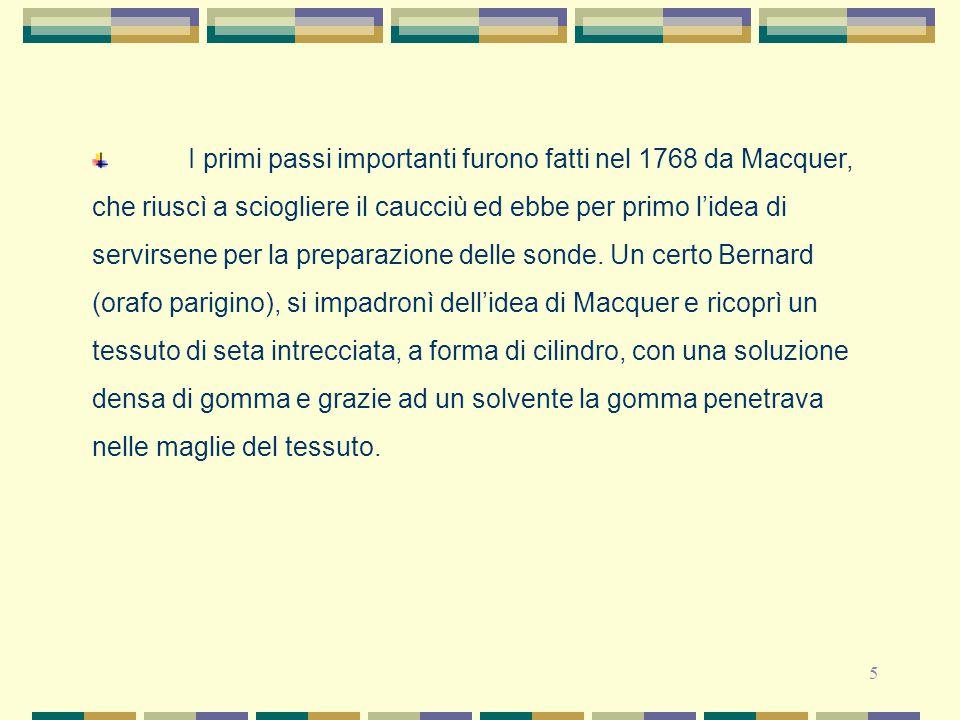 I primi passi importanti furono fatti nel 1768 da Macquer, che riuscì a sciogliere il caucciù ed ebbe per primo l'idea di servirsene per la preparazione delle sonde.