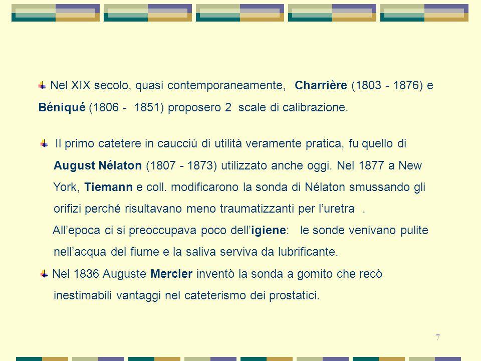 Nel XIX secolo, quasi contemporaneamente, Charrière (1803 - 1876) e Béniqué (1806 - 1851) proposero 2 scale di calibrazione.