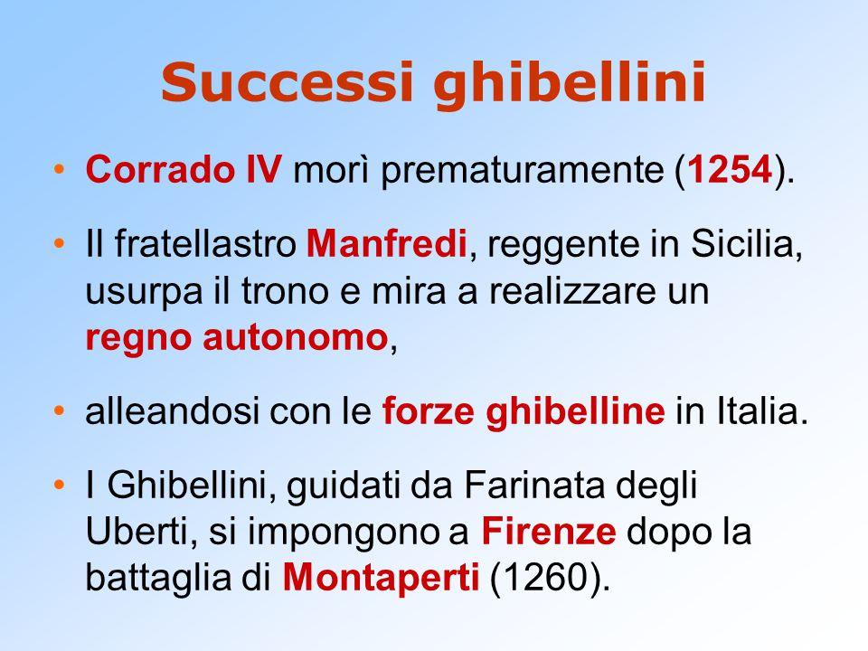 Successi ghibellini Corrado IV morì prematuramente (1254).