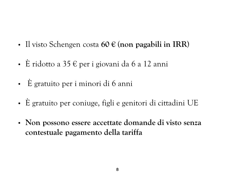 Il visto Schengen costa 60 € (non pagabili in IRR)